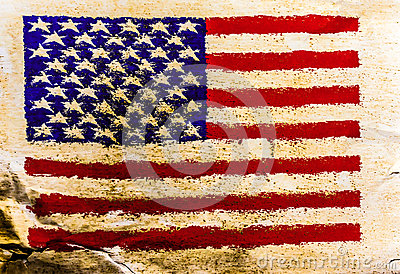 USA flag painted on old brown paper