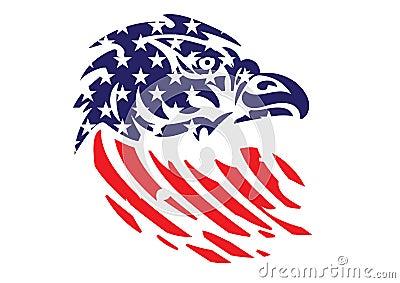 USA Flag Patriotic Eagle Bald Hawk Head Vector Object Vector Illustration