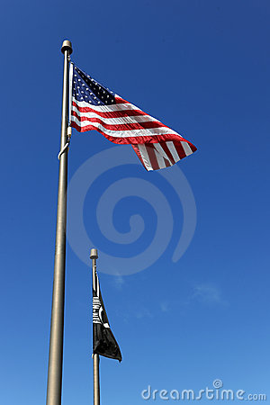 USA Flag and POW/MIA Flags
