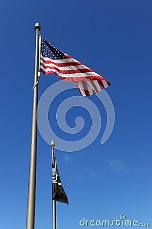 USA Flag and POW/MIA Flags