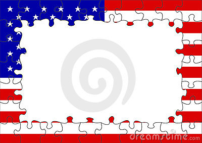 USA flag puzzle border