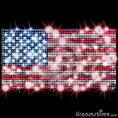 USA flag in rhinestones