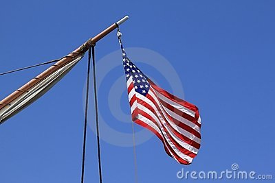 USA flag sail ship