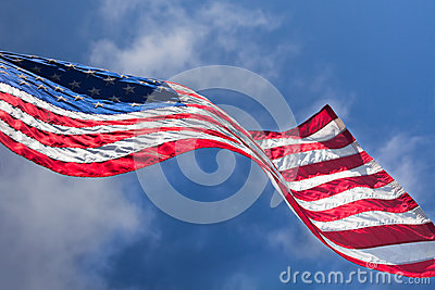 USA flag waving on the wind