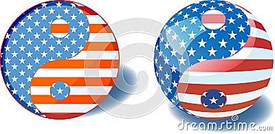 USA flag yin yang