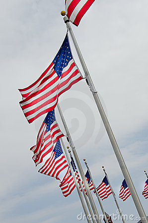USA flags on flagpoles