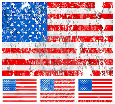 USA grunge flag set