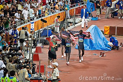 USA hurdlers take victory lap Editorial Image