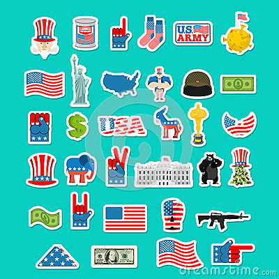 Free USA Icon. National Sign Of America. American Flag And Statue Of Royalty Free Stock Images - 80384089