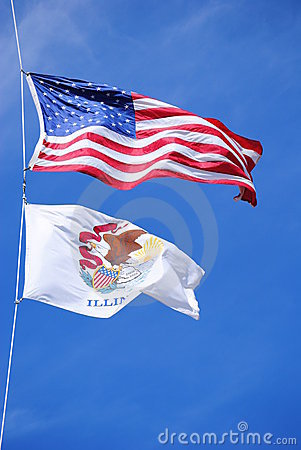 USA and Illinois Flags in the Wind