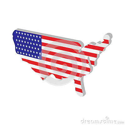 USA map with american flag texture cartoon icon Vector Illustration