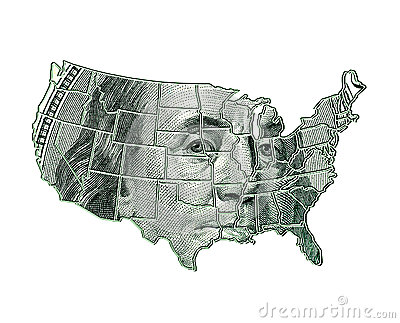 USA map on a dollar background