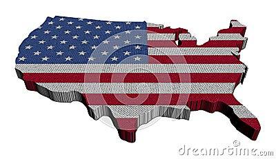 USA map flag mosaic illustration