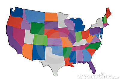 USA map outline with colored states photo illustration