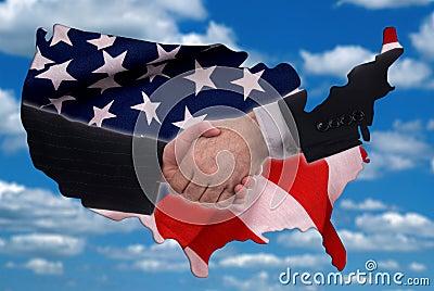 USA map outline with handshake and flag