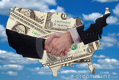 USA map outline with handshake and money