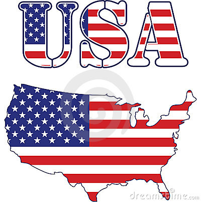 USA map and text Flag