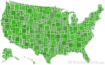 USA in a mosaic coloured