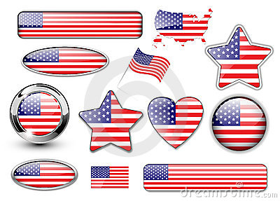 USA, North American flag buttons great collection