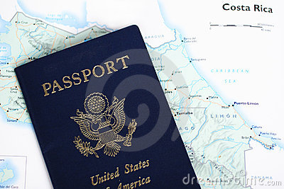 USA Passport & Costa Rica Map