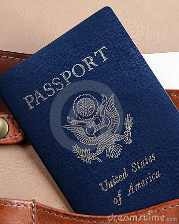 USA passport in a leather briefcase-vertical