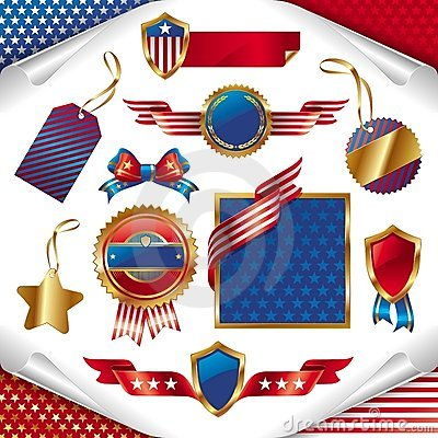 USA patriotic signs, labels, tags  and emblem