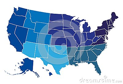 Usa regional map Stock Photo