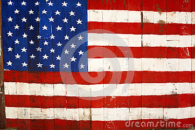 USA retro flag painting on wood
