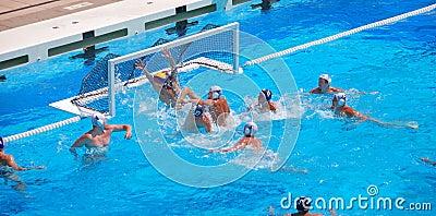 USA - Serbien-freundliches Wasser-Polo-Spiel Redaktionelles Stockfotografie