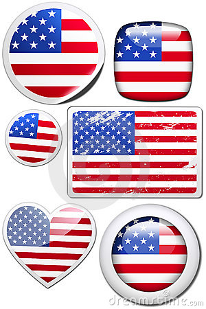 USA - stickers with reflection