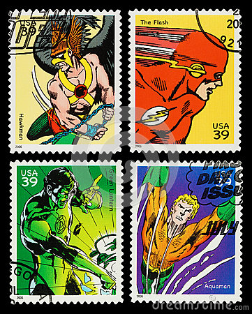 Free USA Superheroes Postage Stamps Royalty Free Stock Image - 27840716