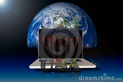 USA symbol on laptop and galaxy background