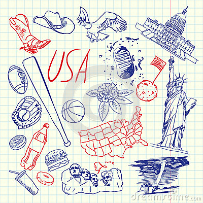 USA Symbols Pen Drawn Doodles Vector Collection Vector Illustration
