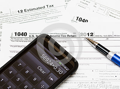 USA tax form 1040 for year 2012