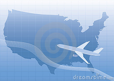 Usa,us map with plane