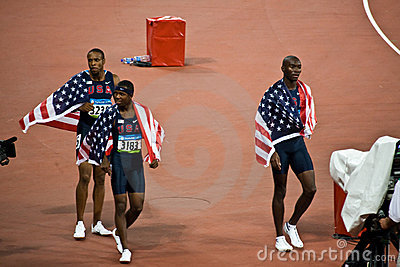 USA victory Lap Mens 400m Hurdles Editorial Stock Photo