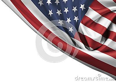 USA waving flag corner isolated