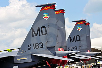 USAF F-15E Strike Eagle at Singapore Airshow Editorial Stock Image