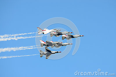 USAF Thunderbirds in Formation Editorial Stock Photo