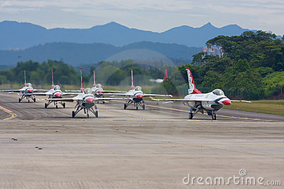 USAF Thunderbirds taxiing down the runway Editorial Stock Image