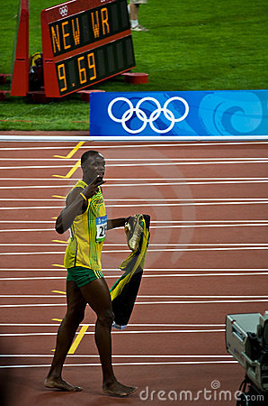 Usain Bolt Celebrates New World Record Stock Images - Image: 6173984