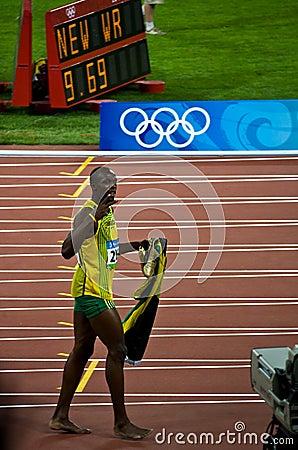 Free Usain Bolt Celebrates New World Record Stock Images - 6173984