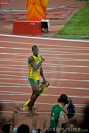 Usain Bolt s victory lap Editorial Stock Photo