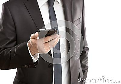 Usando el teléfono elegante