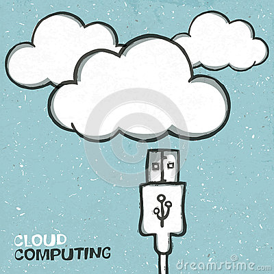 Usb cabel and clouds icons