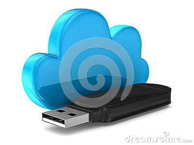 Usb flash drive and cloud on white background