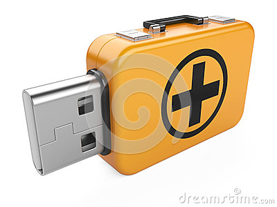 Usb flash drive and first aid sign