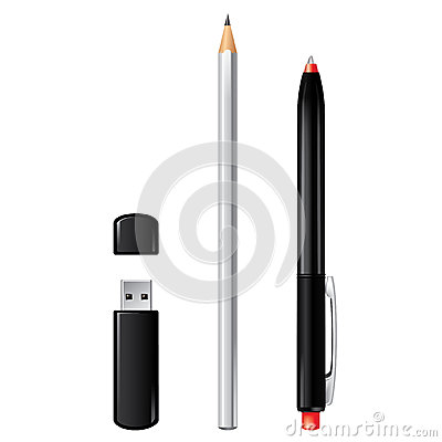 Usb flash drive, pencil and pen isolated