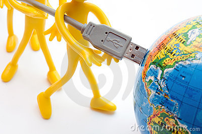 USB plugs into earth. Conceptual