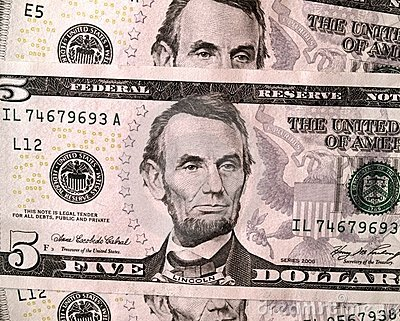 USD 5 United States Dollar Bills Close Up